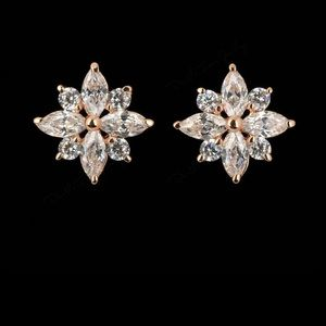 Rose Gold Color Fashion Jewelry Zirconia Earrings